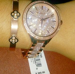Luxury Rose Gold Pave Watch diamond Michael Kors